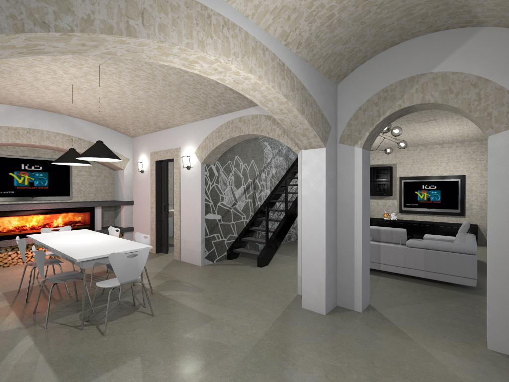 Render e Progettazione 3D Case e Ambienti Commerciali. Idee per transformare pavimenti, pareti, cucina, bagno e lavabo - Resiworld Progetto di interni di una abitazione privata con pavimenti, rivestimenti a parete, top cucina e lavabo, da realizzare in biomalta. - Resiworld